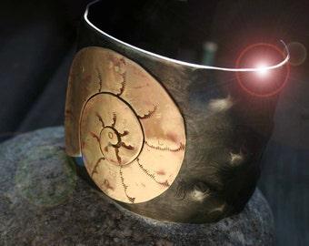 Ammonite, nautilus cuff bracelet. Unisex, Aquaman