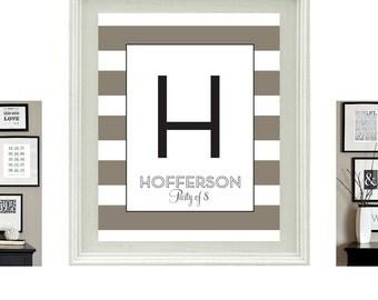 Personalized Monogram - Neutral Stripe