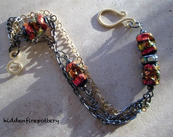 Sparkly Dichroic Coppery Orange Lampwork and Chain Bracelet, Gunmetal and Bronze Chain, Mixed Metals, Boho, hiddenfirepottery
