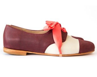 Oxford borravino - Leather flats - Woman flat shoes - Handmade by Quiero June - Free Shipping