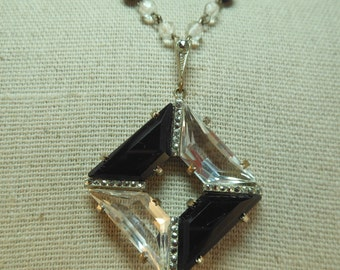 Antique Art Deco Jet Glass and Crystal Silvertone Necklace