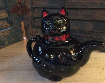1950s Shafford Redware Cat Teapot