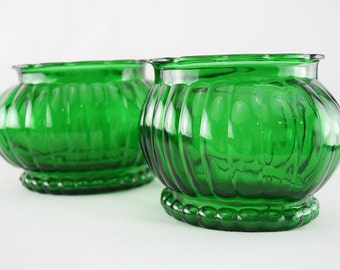 Pair of ALR Emerald Glass Vases