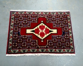 1980s Vintage Hand-Knotted Gholtogh Bijar Persian Rug (3498)