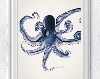 Blue Octopus Print, Art Print on white paper wall art print, poster print, Octopus wall decor, Giclee print, Octopus wall art SPOJ085