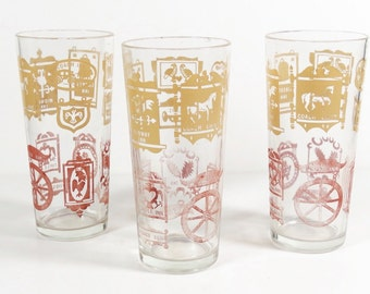Vintage Colonial Inn Sign Glasses - Set of 3 - Midcentury Tumblers Midcentury Glassware - Vintage Barware Highball Tumblers