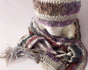 Boho Multi-fiber Crochet Hat and Scarf Set