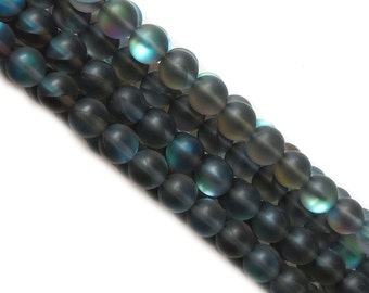 Matte Blue Litmus Quartz, 10mm, 1 Strand