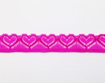 Lovely hot pink lace heart choker