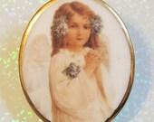 Christmas Angel Porcelain Cameo Brooch Gold Trimmed