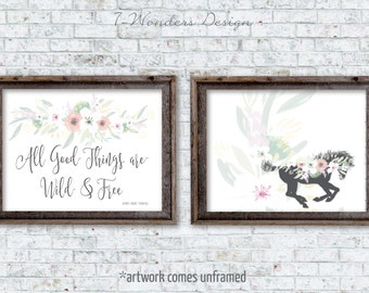 All Good Things Are Wild and Free, Thoreau Inspirational Art, Set of (2) 5x7, 8x10 or 11x14 Watercolor Floral Girls Teens Dorm - Unframed