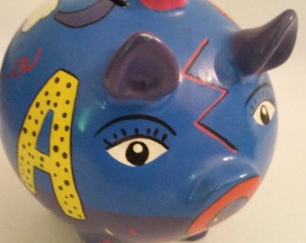 Vintage Piggy Bank 1980's Mexican Ceramic Hand Painted ABC Bank 80's Ceramic Pig Folk Art Piggy Bank Made in Mexico