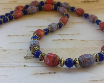 Beaded Necklace, Red, Blue, Silver Beaded Necklace, Paper Bead Necklace LN106