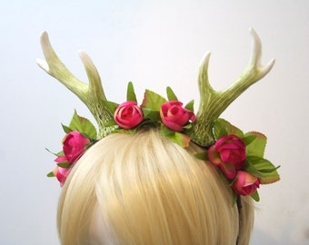 "5"" Mossy Green Deer Antlers with Pink Roses / Faun Costume Headband"