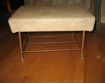 Ivory leather stool 1970's living room Ottoman, bench.