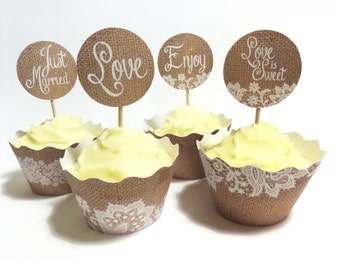Rustic Wedding Burlap and Lace Cupcake wrappers & Cake Toppers - Instant Printable Download PDF Files