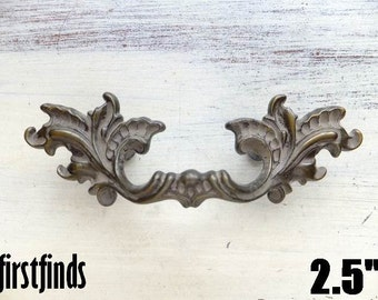 1 Original French Provincial Handles Patina Furniture Hardware Drawer Door Fancy Cupboard Pull Kitchen Cabinet 2 inch SEE DETAIL BELOW