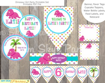 Dinosaur Girl Birthday Printable Set, Banner, Dinosaur Favor Tags, Dinosaur Party Sign, Cupcake Toppers