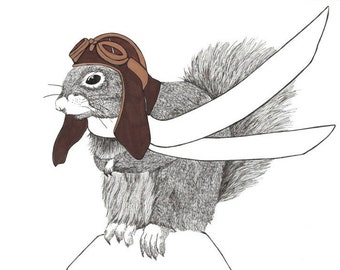 Flying Squirrel A4 Illustration in ink