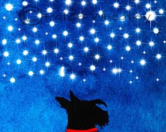 Scottie Dog Art Print Scottish Terrier 'Moon and Stars' #10
