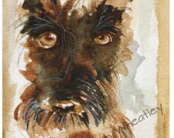 Scottish Terrier Dog Art Print Scottie Dog 'Sepia Scottie' #123