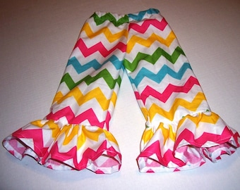 Your Choice of Color Chevron Ruffle Pants in Sizes 6 Months to 8 Years