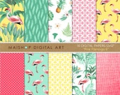 Tropical Digital Paper 'Pink Flamingo II' Floral Scrapbook Backgrounds for Scrapbooking, Invitations, Stickers, Decoupage, Cards...