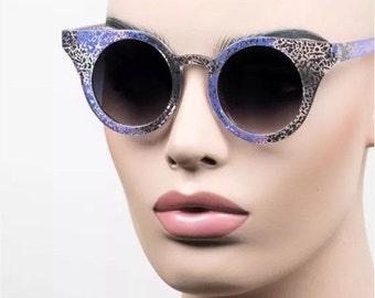 LOVE U SALE Blue speckled Round cat-eye Frame Sun Glasses