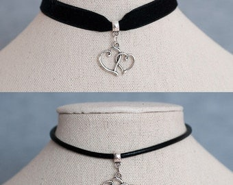 Black Velvet Ribbon/Real Black Leather Cord Choker Necklace with Antique Silver Double  Heart Charm Pendant