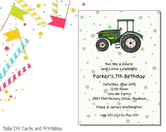 Green Tractor Invitation   Kids Birthday   Printable Editable Digital PDF File   Instant Download   KBI121DIY