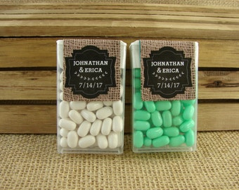 Personalized Tic Tac Favors - Burlap and Chalkboard Design - Wedding Favors - Mint to Be - Any Occasion - bc55