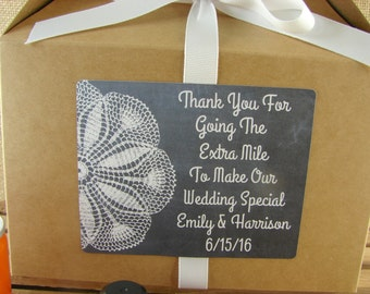 Personalized Out of Town Guest Boxes - Chalkboard and Lace Design - Personalized Gable Boxes - Wedding Favor Box