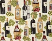 Robert Kaufman Vineyard Collection Wine Bottles & Leaves Ivory Fabric by the Yard