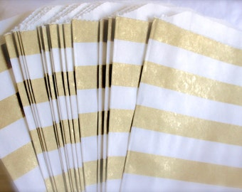 GOLD Favor Bags, ROSE GOLD Striped Treat Bags, Candy Bags