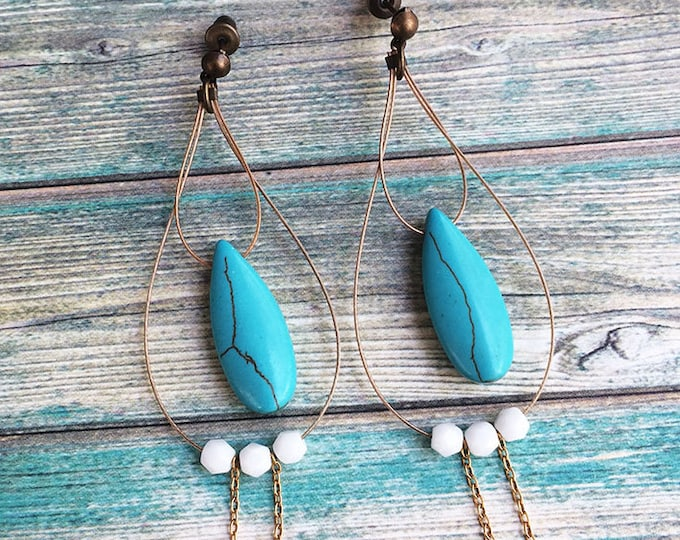 Turquoise Earrings - dangle and drop - stud earrings - boho earrings - gipsy - old gold - hippie - drop shape - blue & gold - gift for her