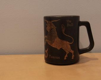 Vintage Federal Glass Mug Astrological Sign Taurus