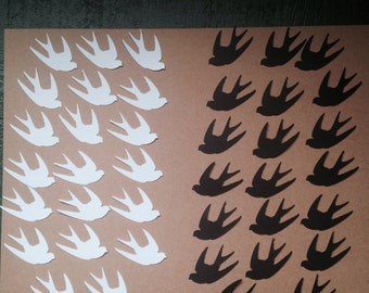 Card Stock Die Cut Black/White Doves/Sparrow Lot