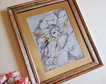 PRINT- Moth - Ink drawing - Special Edition FRAMED PRINT