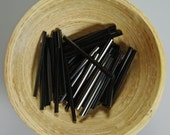 Jet Black Glass 30mm Bugle Beads Hexagonal Profile Vintage Venetian 50 pcs.