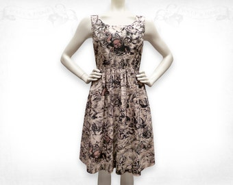 Sea Monsters screenprinted Cotton Dress- Sepia