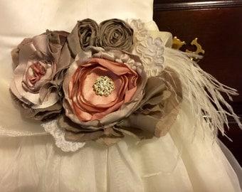 Wedding sash belt bridesmaids maternity sash fabric flower ivory cream white pearl feathers elegant upcycled sash photo prop 20s gatsby sash