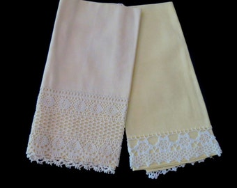Two Ecru Hand Towels With Crochet Trim