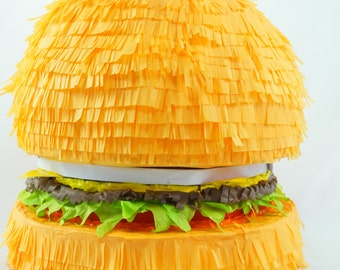 Designer Pinata | Inspired By In-N-Outs Amazing Cheeseburgers | Fun Party Game | Hamburger Birthday Theme | Party Decor | Party Supply