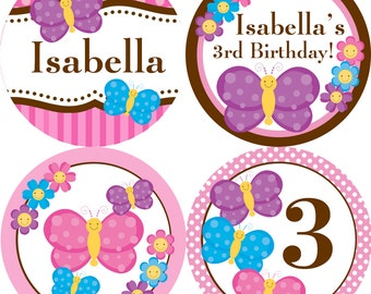 Butterfly Party Circles - Pink Stripes and Dots, Purple Butterflies Flowers Personalized Birthday Party Circles - A Digital Printable File