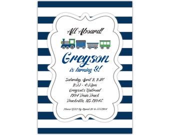 Train Invitation - Navy Blue Stripes, Cute Little Green Train Engine, Kids Train Personalized Birthday Party Invite - Digital Printable File