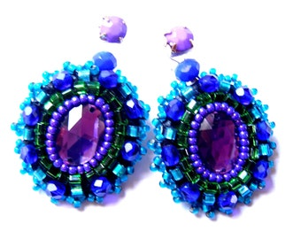 Bead embroidered earrings - Jagoda