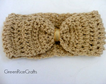 Tan and Gold Bow Earwarmer Headband