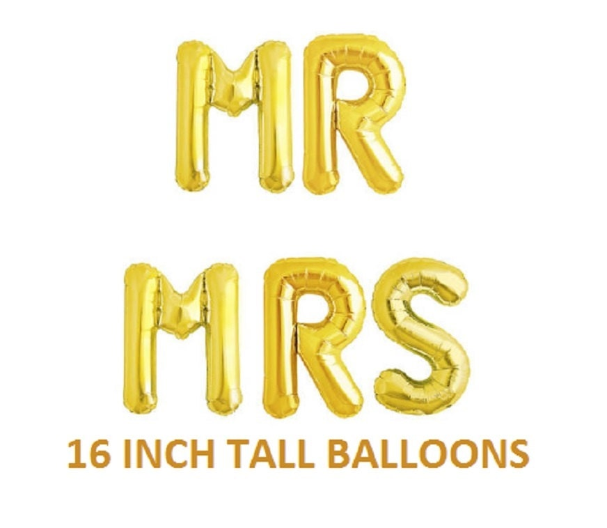 16 inch mr mrs letters balloons gold for wedding decorations for Mr and mrs letter balloons