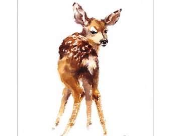 Baby Deer - Original Watercolor Painting 7x9 inches Animals Fawn Nursery Room
