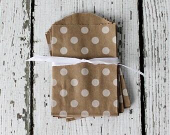 MINI KRAFT Favor Bags DOTS: Set of 20 - The Paper Doll